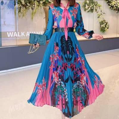 艾丽丝2020早春新款印花衬衣印花压折半裙皮带三件套装