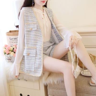 独家定制 春装新款衬衫衬衣+短裤+马甲外套三件套套装