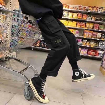 B415  外贸原单男装酷男学院早春工装裤 阔腿裤大码时尚九分裤   ¥63