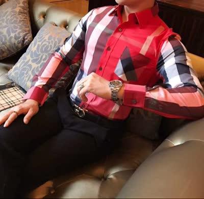 高品质衬衣 时尚新款休闲男士丝光棉纯棉格子拼接色格子长袖衬衫