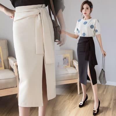 货号69396#,2020春夏新款时尚百搭绑带中长款半身裙修身一步包臀裙