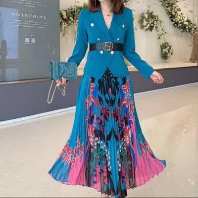 艾丽丝2020新款西装上衣印花压折半裙皮带三件套套装