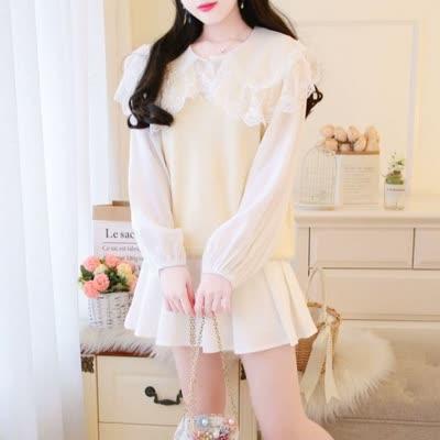 独家定制 春装新款娃娃领衬衫衬衣+半身裙百褶裙+马夹针织衫三件套套装
