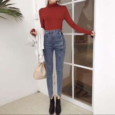 货号89191#,实拍实价!韩版复古排扣高腰牛仔裤修身弹力小脚铅笔裤女潮,颜色:黑色、蓝色