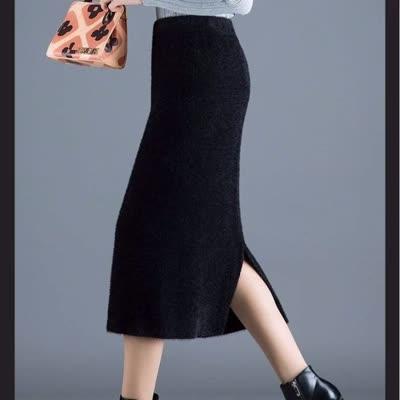 2019新款仿水貂毛大码针织半身裙高腰秋冬开叉厚中长款一步包臀裙
