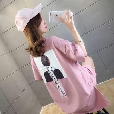 货号67785#,实拍2020韩夏季新款百搭美女图蝴蝶结中长款短袖T恤女潮大码