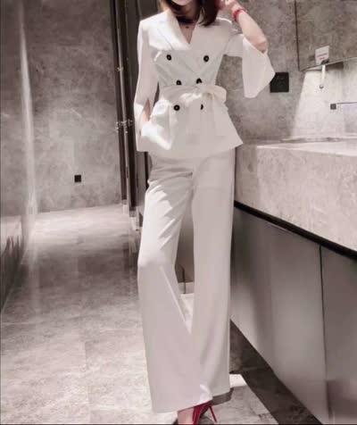 艾丽丝2020新款气质通勤开叉袖配腰带西服套装