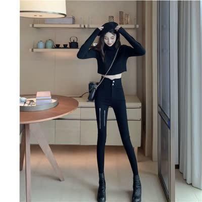货号1566#,实拍~长腿MM百搭高腰显瘦秋冬新款设计感拉链薄绒铅笔裤