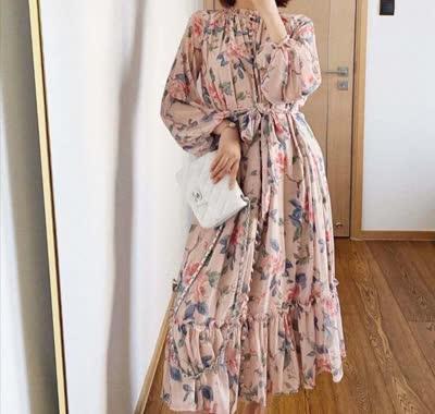 艾丽丝早春印花一排扣连衣裙