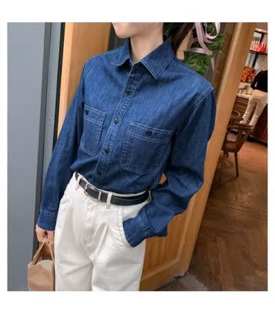 【乆记服饰】 牛仔衬衫女 开春新款 韩版显瘦百搭叠穿打底衬衣