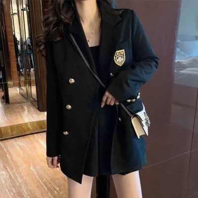 实拍 英伦学院风黑色双排扣休闲宽松韩版小西装外套女西服
