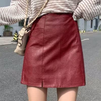 皮裙2019新款女高腰气质a字裙裤黑色包臀短裙秋冬小皮裙半身裙子