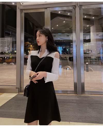 独家定制 春装新款V领漏肩拼色连衣裙