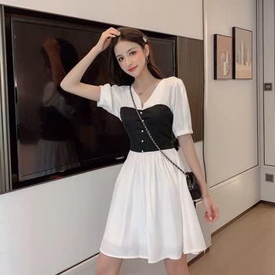 2020夏款现货~实拍~小视频~韩版女装拼接假两件连衣裙