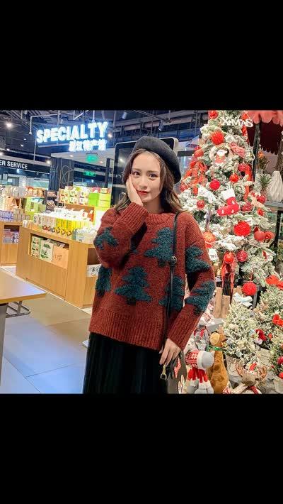 圣诞树套头仿马海毛红色毛衣女2019冬季新款长袖打底针织衫上衣