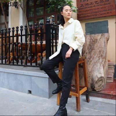 2day2020年春装哈伦裤薄款直筒韩版高腰宽松西装休闲萝卜裤
