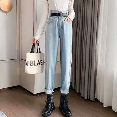 实拍现货牛仔裤女直筒宽松2020新款春高腰韩版显瘦百搭学生休闲裤