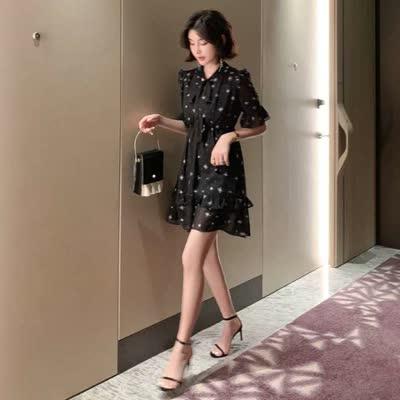 2020夏季新款气质收腰显瘦设计感A字裙子印花黑色雪纺连衣裙1908