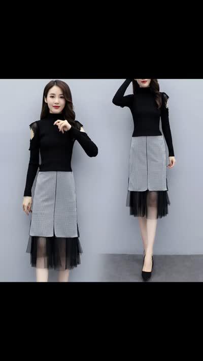 新款洋气早秋套装女神范御姐套装裙两件套裙子