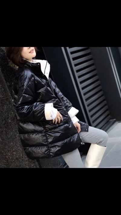 2019冬新款【姚家铺子】时尚气质立领显瘦印花90绒羽绒服
