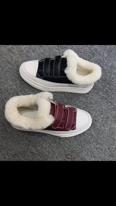 真皮真毛小白鞋