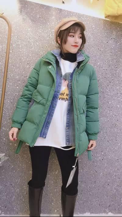 2019冬装新款女装【宣衣社】时尚气质牛仔撞色假两件棉衣
