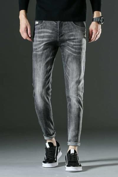 2020春季新款男装牛仔韩版青年灰色长裤