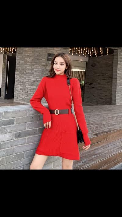 货号6516#,实拍中长款毛衣裙子女秋冬新款韩版宽松半高领加厚外穿针织打底衫