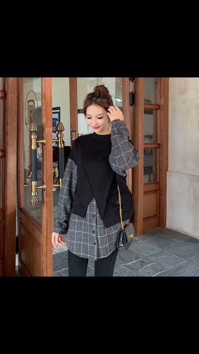 货号619788#,实拍2019秋冬新款欧货格子拼接羊绒卫衣女宽松无帽假两件上衣潮