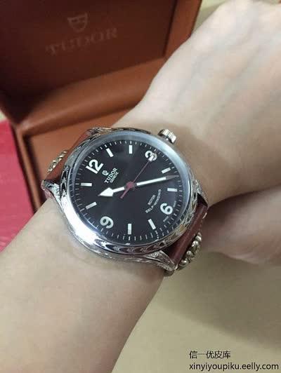 精品复古男士机械腕表,全自动机械机芯316精钢鑫雕花表壳小牛皮带手表