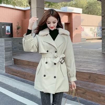 糖果2019冬装韩版宽松双排扣拼接毛领加绒加厚风衣外套女