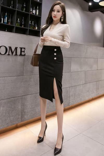 货号8923#,新款百搭修身女装包臀裙子性感开叉女装半身裙职业裙