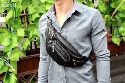 新款休闲男士牛皮腰包 时尚大空间胸包百搭单肩包