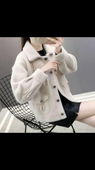 冬加厚仿水貂绒短款外套女装2019秋冬季新款宽松针织毛衣开衫外穿