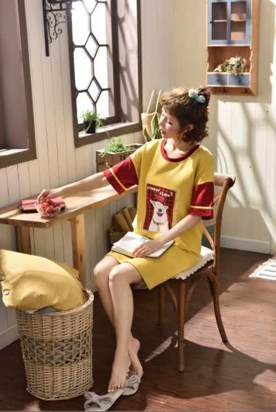 睡衣女新款夏季纯棉短袖睡裙