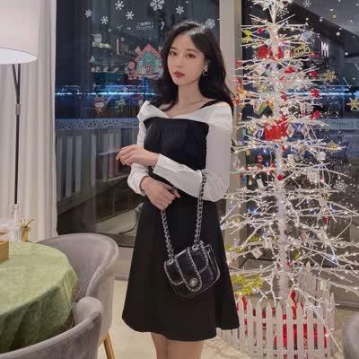 独家定制 春装新款V领拼色吊带裙连衣裙