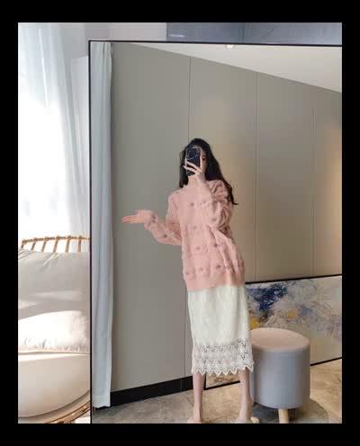 货号8668#,韩版橘粉色立体花超柔软甜美慵懒风+水溶性蕾丝半身裙套装两件套