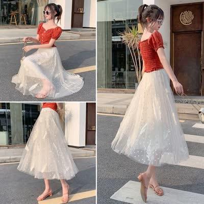 货号3823#,羽毛刺绣网纱半身裙女2020新款甜美仙女裙高腰中长a字蓬蓬裙
