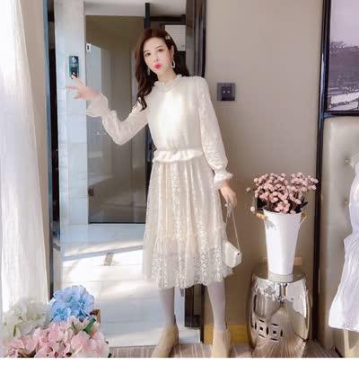 独家定制 春装新款蕾丝裙+仿貂绒马夹 两件套装