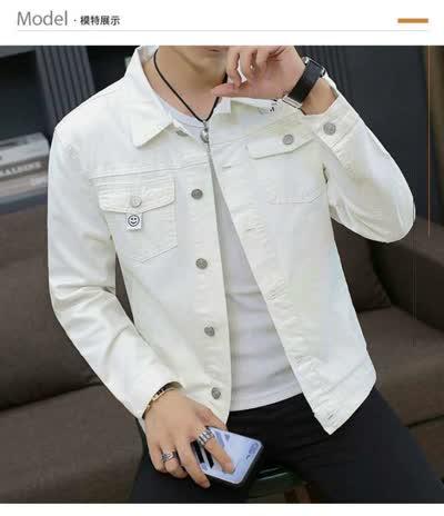 男裝牛仔外套2020新款春季潮牌白色歐美街頭青年靚仔潮流休閑牛仔夾衣服