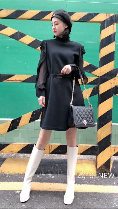 2019冬装新款女装【蕃米莉】淑女气质袖子荷叶纱纱䄂拼羊毛绒织连衣裙