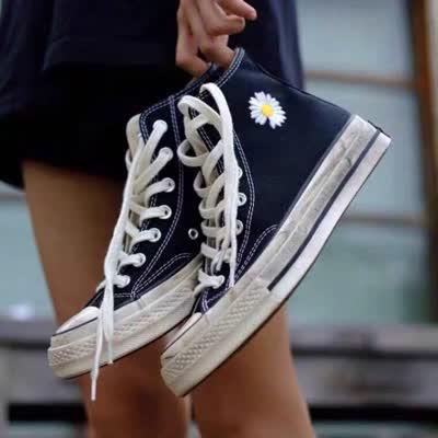 1970s匡威小雏菊联名帆布鞋权志龙同款鞋