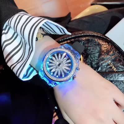 时来运转手表七彩闪光灯腕表硅胶表带