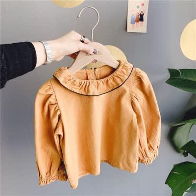 80-130 韩版泡泡袖衬衫姜黄色