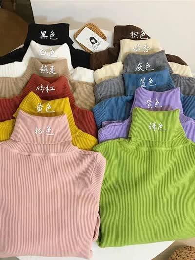 秋冬2019新款韩版黑色百搭高领加厚修身长袖针织打底衫女装上衣潮