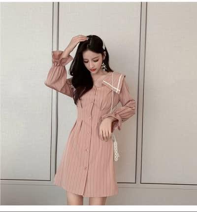 独家定制 春装新款翻领收腰显瘦条纹裙连衣裙