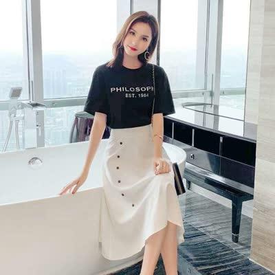 【名朗潮流衣橱】现货时尚休闲套装女2020夏装新款字母百搭短袖T恤+半身裙两件套女