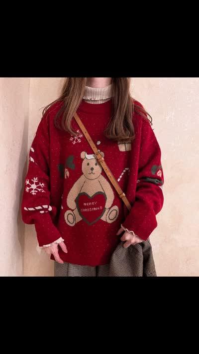 洋气圣诞毛衣女圆领宽松套头上衣红色卡通提花甜美学院风针织衫厚