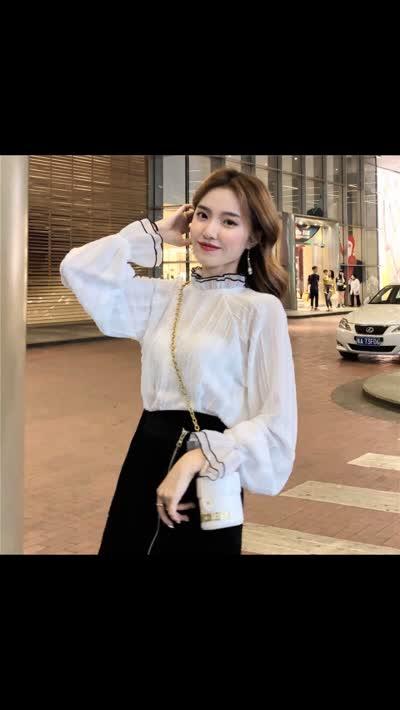 实拍2020春新品长袖雪纺衬衫韩版百搭气质上衣荷叶边小衫