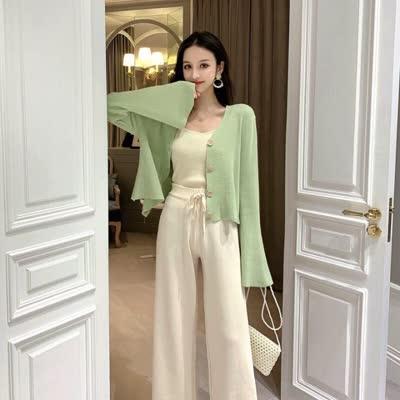 春款现货~实拍~韩版女装纯色针织开衫+针织裤两件套